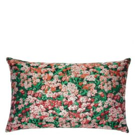 Mary Mare - Floral-embroidered Canvas And Velvet Cushion - Multi