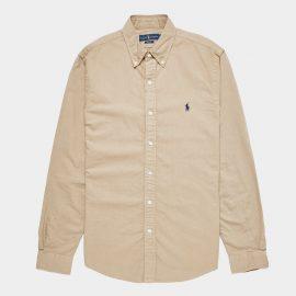 Mens Polo Ralph Lauren Dyed Long Sleeve Oxford Shirt Brown, Brown