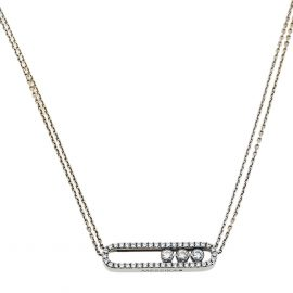 Messika Move Pave Diamond 18K White Gold Double Chain Necklace