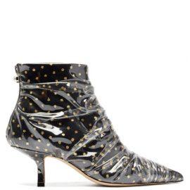 Midnight 00 - Antoinette Polka-dot Tulle & Pvc Ankle Boots - Womens - Black Gold