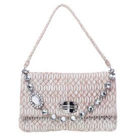 Miu Miu Beige Leather Crystal Embellished Matelassé Shoulder Bag