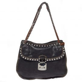 Miu Miu Black Leather Studded Shoulder Bag