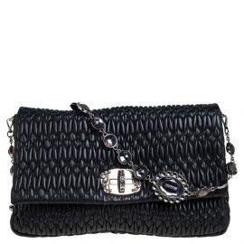 Miu Miu Black Matelassé Leather Crystal Embellished Shoulder Bag