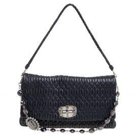 Miu Miu Black Matelassé Nappa Leather Crystal Shoulder Bag