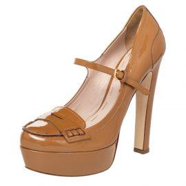 Miu Miu Brown Patent Leather Penny Platform Loafer Pumps Size 40