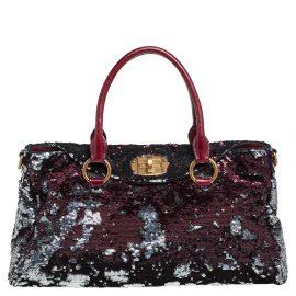 Miu Miu Burgundy/Silver Sequin and Leather Turnlock Shoulder Bag