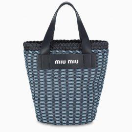 Miu Miu Mini blue cotton shopping bag