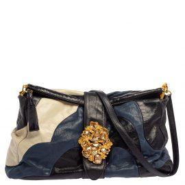 Miu Miu Multicolor Leather Crystal Embellished Colorblock Flap Shoulder Bag