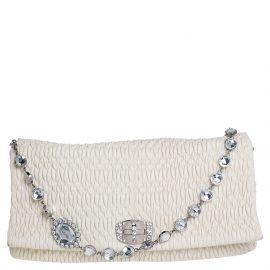 Miu Miu Off White Matelassé Nappa Leather Large Crystal Shoulder Bag