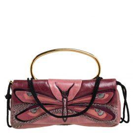 Miu Miu Pink Leather And Python Dragonfly Shoulder Bag
