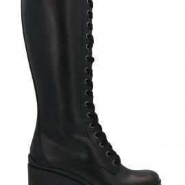 Miu Miu Pull Up Leather Combat Boots
