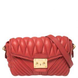 Miu Miu Red Quilted Leather Biker Shoulder Bag