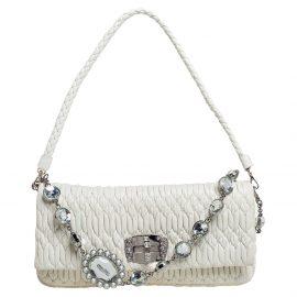 Miu Miu White Matelassé Leather Crystal Shoulder Bag