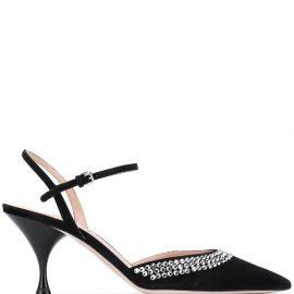 Miu Miu crystal embellished slingback pumps - Black