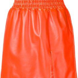 Miu Miu leather flared mini skirt - ORANGE