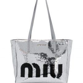 Miu Miu logo sequin tote bag - Silver