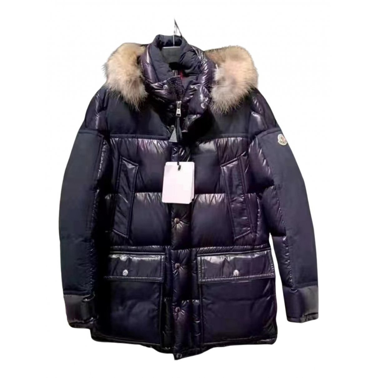 Moncler Fur Hood Blue Coat for Men