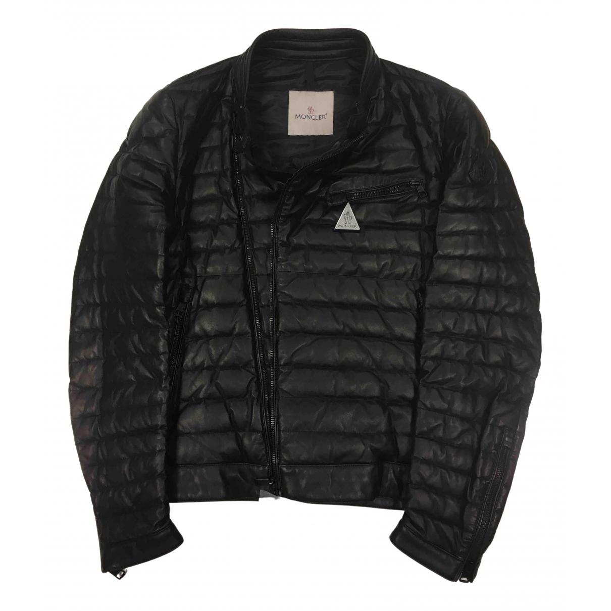 Moncler N Black Leather Jacket for Men