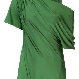 Monse draped shoulder satin blouse - Green