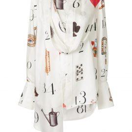 Monse numbers print draped blouse - White
