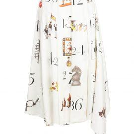 Monse printed numbers pleated midi skirt - White