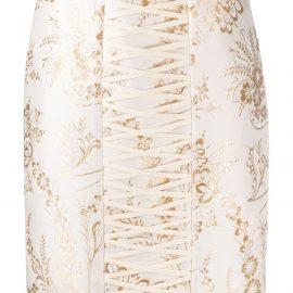 Moschino damask jacquard fitted skirt - GOLD