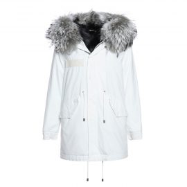 Mr & Mrs Italy White Jazzy Parka Midi For Woman With Raccoon Fur