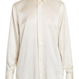 Nailhead Studded Silk Blouse