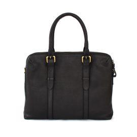 Nappa Dori - Dual Zip Laptop Bag Black Leather