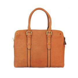 Nappa Dori - Dual Zip Laptop Bag Tan Leather