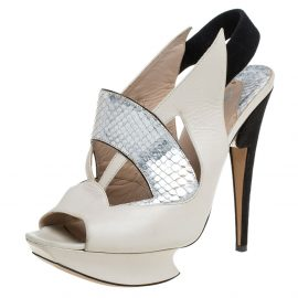 Nicholas Kirkwood Beige/Black Leather And Python Leather Slingback Platform Sandals Size 39.5