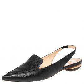 Nicholas Kirkwood Black Leather Beya Pointed Toe Slingback Sandals Size 40.5
