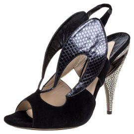 Nicholas Kirkwood Black Suede And Python Embossed Leather Cutout Slingback Sandals Size 39.5