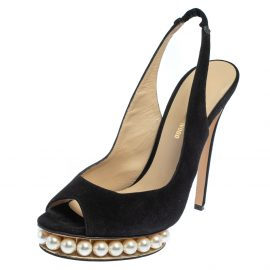 Nicholas Kirkwood Black Suede Pearl Embellished Platform Slingback Sandals Size 38