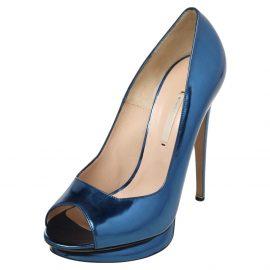 Nicholas Kirkwood Blue Leather Peep Toe Pumps Size 41