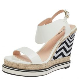 Nicholas Kirkwood White Patent Leather Wedge Espadrille Ankle Strap Sandals Size 39