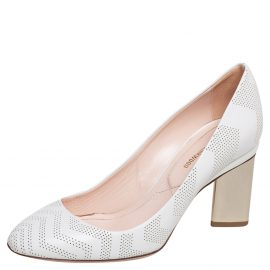 Nicholas Kirkwood White Perforated Leather Briona Prism Pumps Size 37