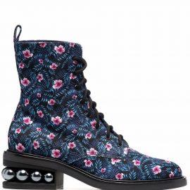 Nicholas Kirkwood floral-print CASATI ankle boots - Blue