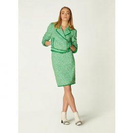 Nicola Green Tweed Biker Jacket, Green