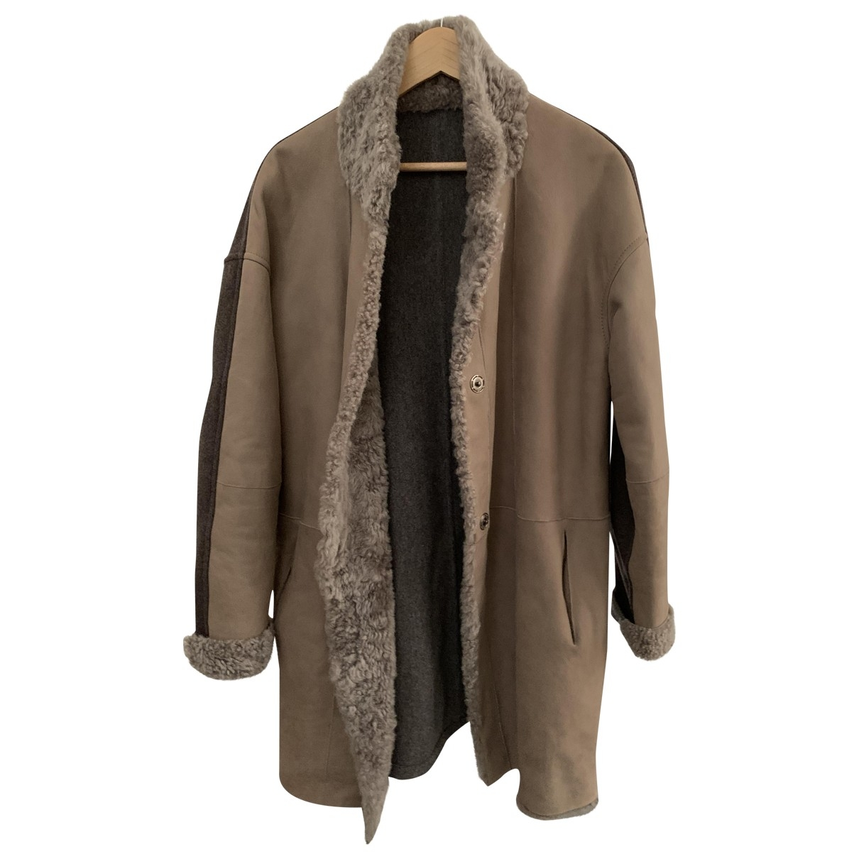 Non Signé / Unsigned N Grey Leather Coat for Women
