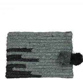 OLIVIA large raffia evening clutch bag with pompoms in grey and black