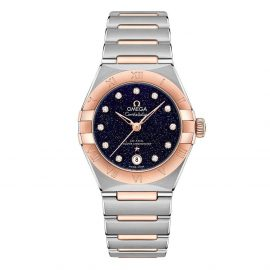 OMEGA Constellation Manhattan 18ct Rose Gold And Steel Diamond Automatic Ladies Watch
