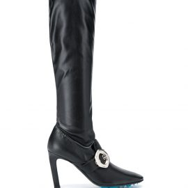 Off-White buckle-detail over-the-knee boots - Black