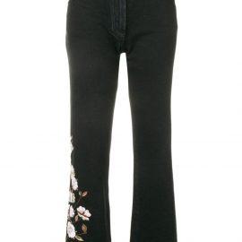 Off-White diagonal flowers jeans - Black