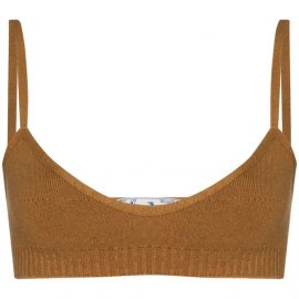 Off-White fine-knit strappy bralette - Brown