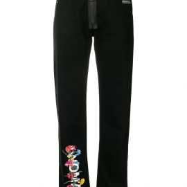 Off-White floral high-waist jeans - Black