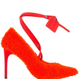 Off-White textured style ankle strap pumps - ORANGE