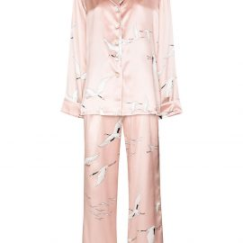 Olivia von Halle bird print two-piece pajama set - Pink