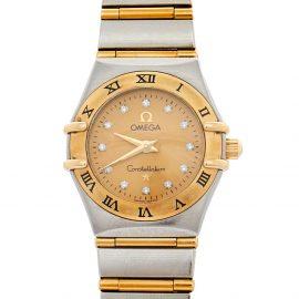 Omega 18K Yellow Gold & Stainless Steel Diamonds Constellation 95 1262.15.00 Women's Wristwatch 22.5 mm, Gold