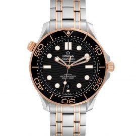 Omega Black 18K Rose Gold And Stainless Steel Seamaster 210.20.42.20.01.001 Men's Wristwatch 42 MM